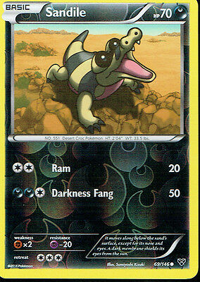 POKEMON XY EXPANSION REVERSE HOLO CARD 69/146 SANDILE grade nm