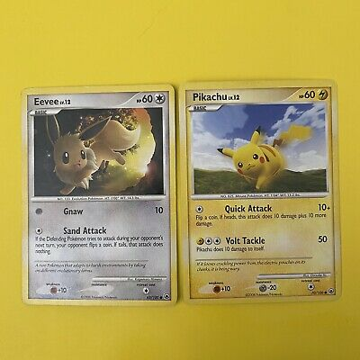 Pikachu 70/100 + Eevee 63/100 Majestic Dawn Vintage Pokemon Cards - LP