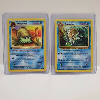 Pokemon 1st Edition Fossil Omanyte (52/62) and Omastar (40/62)