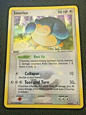 1x SNORLAX 15/112 Holo Rare FireRed/LeafGreen - Excellent/Good Condition Pokemon
