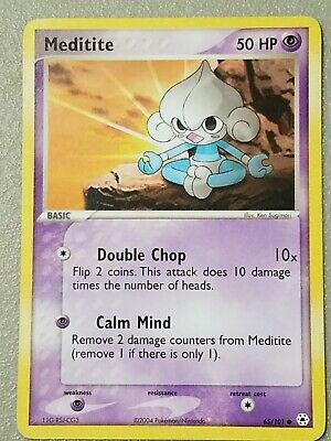 2004 LP Common EX Hidden Legends Set Meditite Pokemon Card 65/101