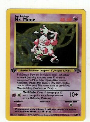 Pokemon Jungle Mr Mime #6/64 1st Edition Rare Holo Very Light Play