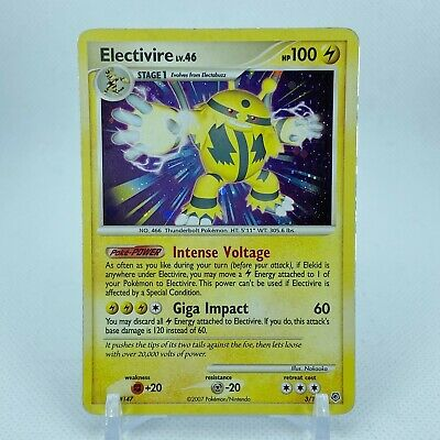 Electivire - 3/130 Diamond & Pearl Holo Rare Pokemon - LP/MP