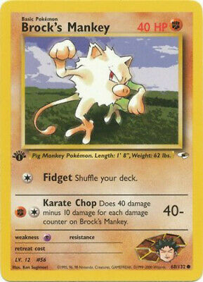 Pokemon Card - Gym Heroes 68/132 - BROCK'S MANKEY (common) **1st Edition** - NM
