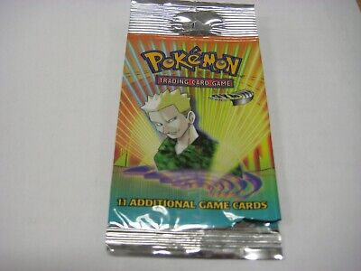 Pokemon Tcg Gym Heroes Empty Booster Pack Wrapper Lt Surge Art Free Shipping
