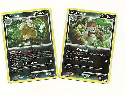 RARE SHIFTRY & NUZLEAF- 2 DIAMOND & PEARL EVOLUTION Pokemon Cards-REV HOLO MINT