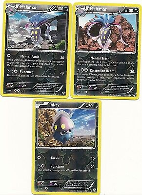 2 RARE MALAMAR & INKAY - 3 EVOLUTIONS XY Pokemon Cards- REV HOLO - MINT