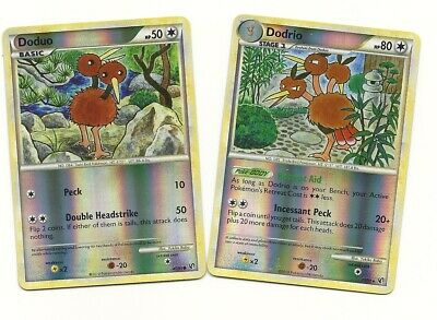 POKEMON RARE DODRIO & DODUO REVERSE HOLO- 2 Evolution Set HS UNDAUNTED NM/M
