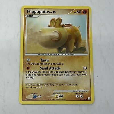 1x Hippopotas 51/130 Uncommon Diamond & Pearl Pokemon LP Nintendo TCG Card 2007