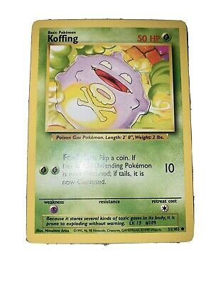 KOFFING Base Set 51/102 Common Pokemon Card Unlimited Edition Near Mint