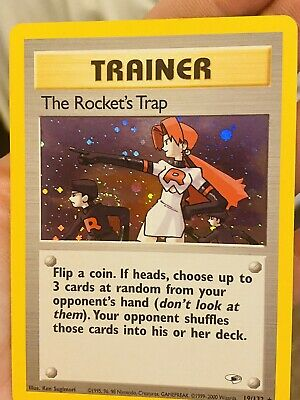 The Rocket's Trap, Holo, Pokemon TCG Gym Heroes 19/132, Great Condition