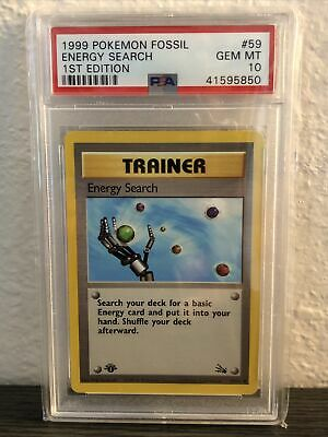 1999 Pokemon Fossil 1st Edition #59 Energy Search PSA 10 Gem Mint
