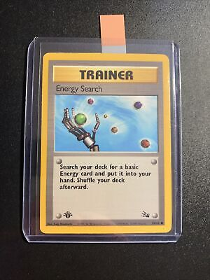 ENERGY SEARCH TRAINER POKEMON CARD #59/62 1st EDITION FOSSIL 1999