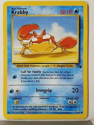 Krabby 51/62 - LP - 1999 Fossil Pokemon Card - $1 Combined Shipping