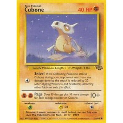Cubone - 50/64 Jungle Set - Common Pokemon Card - Vintage WotC -  NM/MINT
