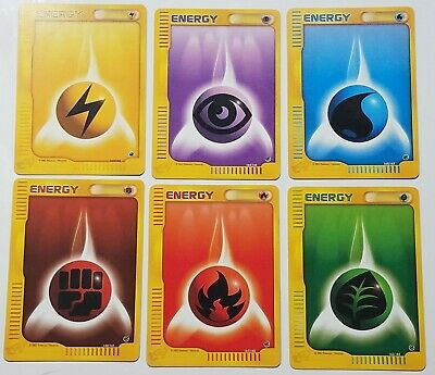 6x Pokemon Expedition Base Energy Cards /165 PL LP VLP Fire Grass Psychic Water