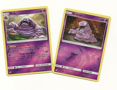 RARE MUK 63/181 & GRIMER 62/181 TEAM UP Pokemon (Psychic Type) REV HOLO -NM/M