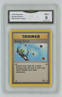 1999 Pokemon Fossil Unlimited #59 Energy Search GMA 9 Mint P33