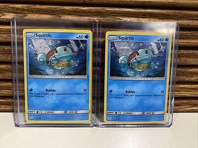 TWO Squirtle 33/214 NM Near Mint SM Unbroken Bonds Reverse Holo Pokemon Card