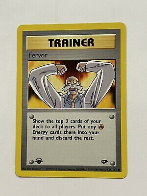 First1st edition Pokemon FERVOR Card GYM CHALLENGE Set 124/132 Trainer Near Mint