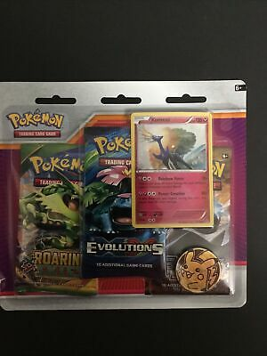 Pokemon TCG XY Xerneas 3 Booster Pack Blister Promo & Coin Evolutions Roaring