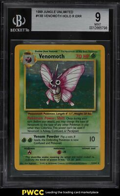 1999 Pokemon Jungle No Symbol Venomoth Holo R Err #13B BGS 9 MINT