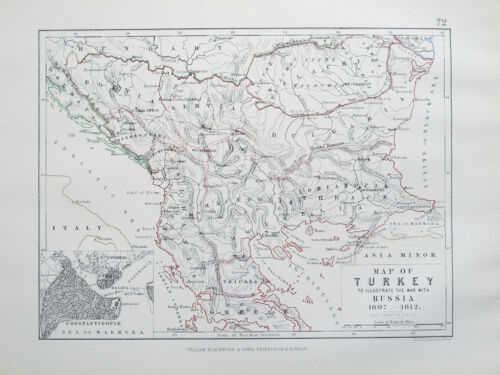 Map of TURKEY to Illustrate the War with RUSSIA 1807 - 1812 JOHNSTON 1866