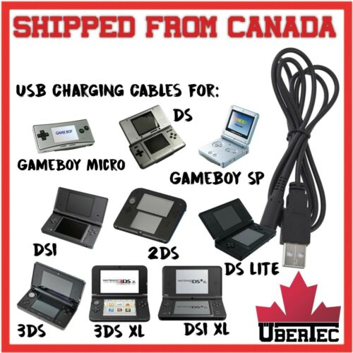 USB Charger Cable GameBoy Advance SP, Micro, Nintendo DS, Lite, DSi, 2DS, 3DS XL