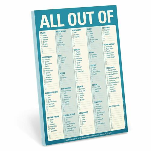 Knock Knock All Out Of Pad Grocery List Note Pad, 6 x 9-inches, 60 Sheets (Blue)