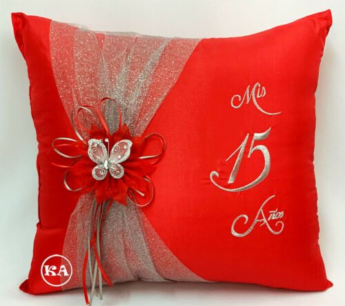 NEW! Quinceanera Kneeling pillow Red with Silver - cojin para quinceanera rojo