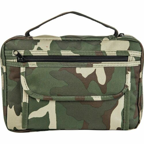 Mens Army Camo Design Bible Cover, Boys Camouflage Zippered Large Book Protector