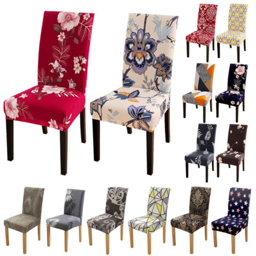 1/4/6pcs Spandex Stretch Printed Dining Chair Covers Slipcovers Home Living Room
