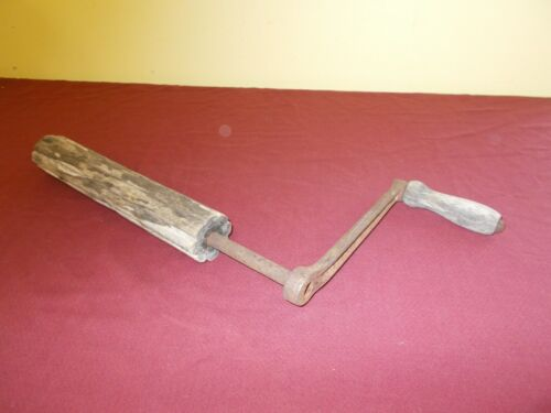 VINTAGE HAND CRANK  WOOD HANDLE  WASHING MACHINE PRESS WRINGER WOOD ROLLER