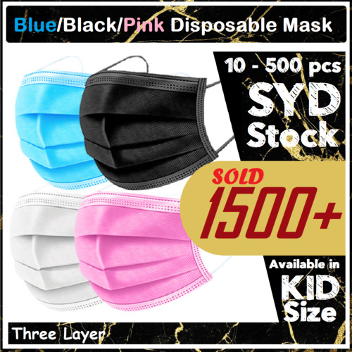 Blue Black disposable masks Kids Mask Protective 3 Layer Anti Bacterial Filter