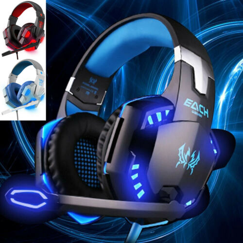 Gaming Headset Mic LED 3.5mm Headphones Stereo Surround For PS5 PS4 Xbox ONE