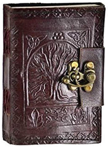 Leather Celtic Tree of Life Book of Shadows Blank Spell Book Wicca ~ by Raven