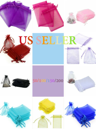"""New """"4x4"""" Drawstring Organza Bags Jewelry Pouches Wedding Party Favor Gift Bags"""