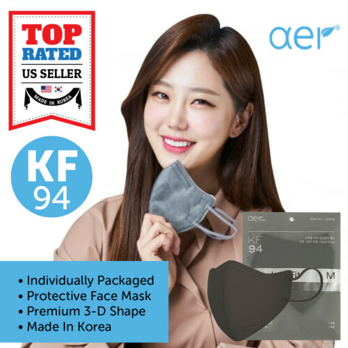 AER KF94 GRAY Face Protective Safety Mask Made in Korea 4 Layers S/M/L