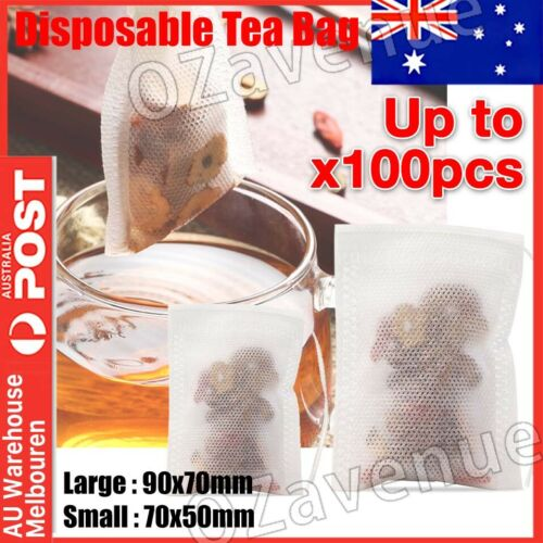 50/100x Empty Teabags String Heat Seal Filter Paper Herb Loose Tea Bags OZ