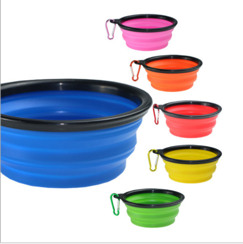 Random Color Silicone Pet Travel Bowl for Dog Feeders Camping Portable