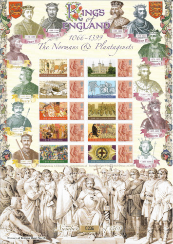 2008 GB. Kings of England Normans and Plantagenets - Full Smiler Sheet - MNH.