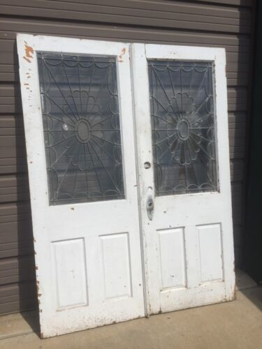 Ad 3 1 Pair Antique Double Door Leaded Glass Passage Set