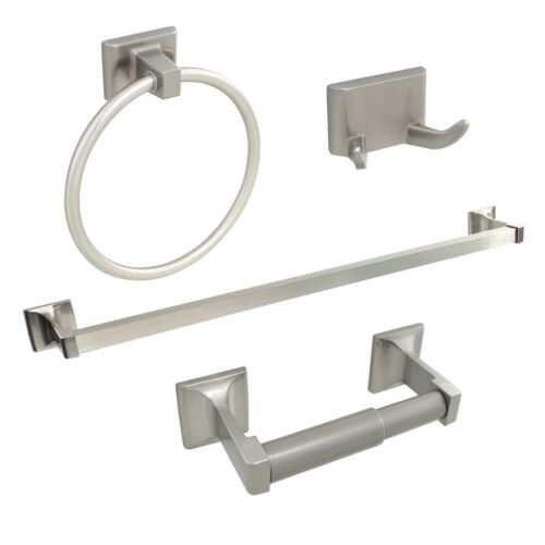 """Brushed Nickel 4 Piece Bathroom Hardware Accessories Set with 24"""" Towel Bar"""
