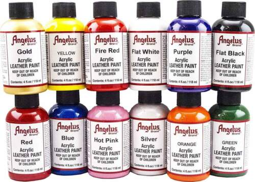 Angelus acrylic leather paint / Dye 4 oz bottle NEW For Shoes Bags Boots