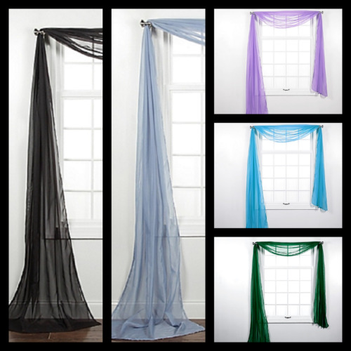 """1PC ELEGANCE SHEER WINDOW SCARF VALANCE CURTAIN TOPPER SOLID COLORS 37"""" X 216"""""""