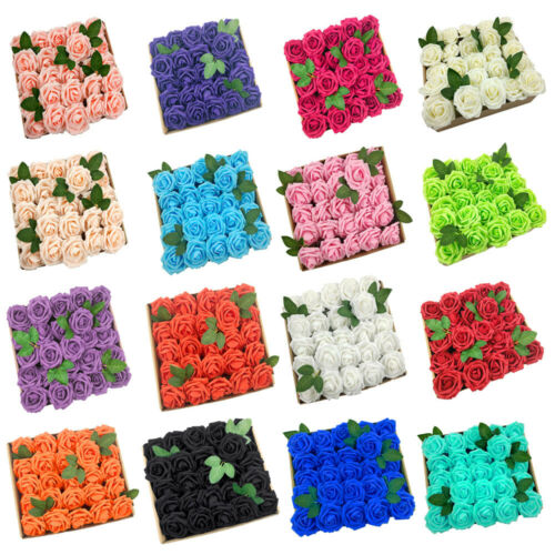 US 25/50pcs Artificial Flowers Real Looking Foam Rose Decoration DIY for Wedding