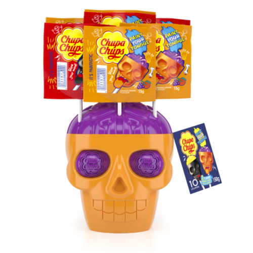 New CHUPA CHUPS 3D SKULL HALLOWEEN WITH 10 LOLLIPOS - PAINT YOUR TONGUE
