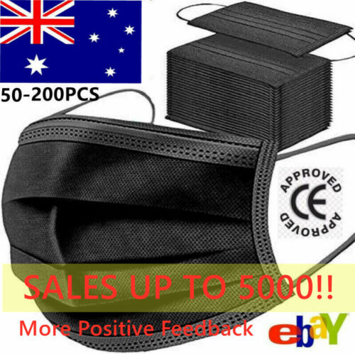 50-200 Disposable Face Masks Black 3 Layer Ply Mouth Masks Anti Bacterial Filter