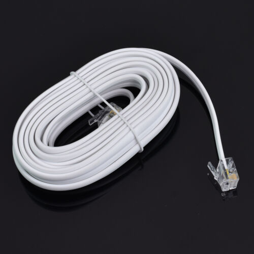 15ft RJ11 6P4C Modular Telephone Extension Cable Phone Cord Line Wire 4 Colors