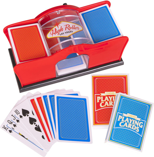 Deluxe Card Shuffler for Blackjack, Uno, Poker; Quiet, Easy To Use Manual Card